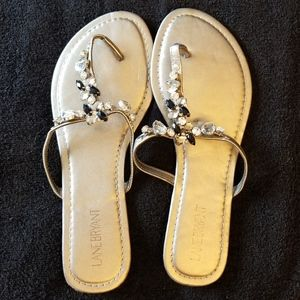 Lane Bryant Embellished Slip On Sandals New